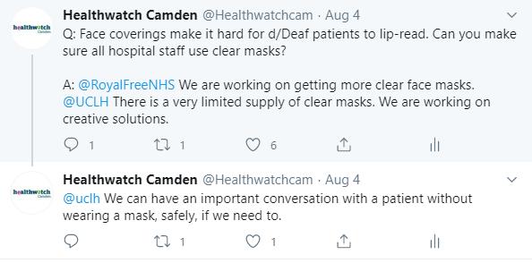 Screenshot of Healthwatch Camden twitter post